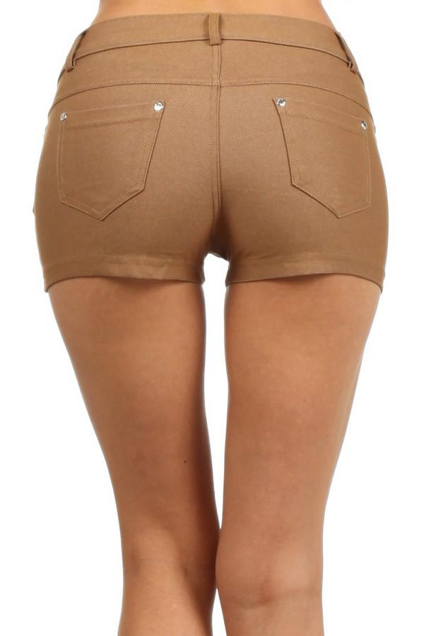 Women's Solid Color Jegging Shorts (Khaki) - Socks Hosiery ...